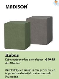 Kubus outdoor oxford grey of green-Madison