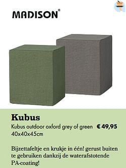 Kubus outdoor oxford grey of green