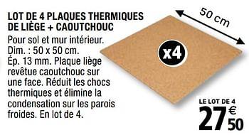 Promotion Brico Depot Lot De 4 Plaques Thermiques De Liege Caoutchouc Diall Construction Renovation Valide Jusqua 4 Promobutler
