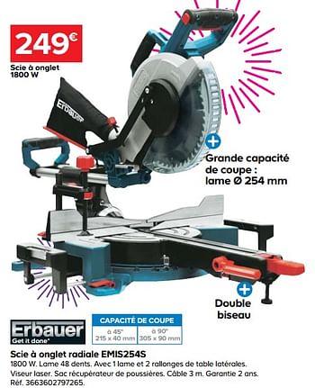 Promotion Castorama Erbauer Scie A Onglet Radiale Emis254s Erbauer Bricolage Valide Jusqua 4 Promobutler
