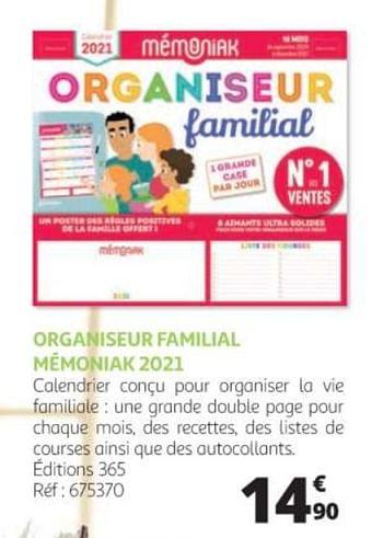 promotion Auchan Ronq: Organiseur familial mémoniak 2021   Produit