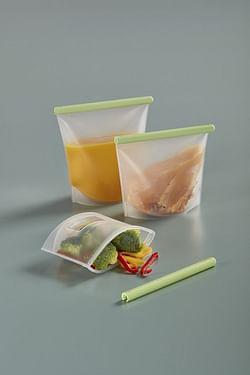 Lékué 3-delige set herbruikbare vershoudzakjes transparant/groen