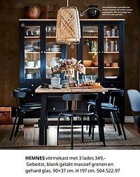 Hemnes vitrinekast met 3 lades-Huismerk - Ikea