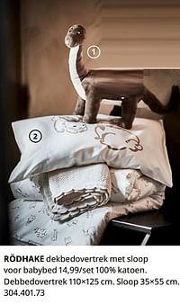 Rödhake dekbedovertrek met sloop voor babybed-Huismerk - Ikea