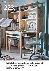 Ivar 2 elementen-opbergmeubel + klaptafel-Huismerk - Ikea