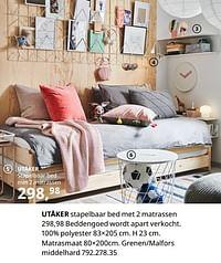 Utåker stapelbaar bed met 2 matrassen-Huismerk - Ikea