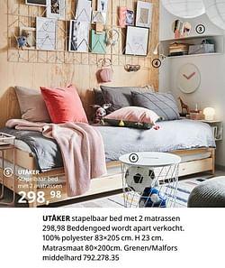 Utåker stapelbaar bed met 2 matrassen