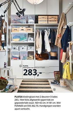 Platsa kledingkast met 2 deuren + 3 lades