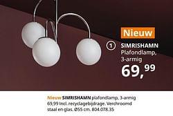 Simrishamn plafondlamp, 3-armig