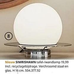 Simrishamn tafel--wandlamp