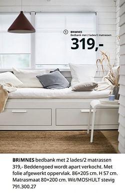 Brimnes bedbank met 2 lades-2 matrassen