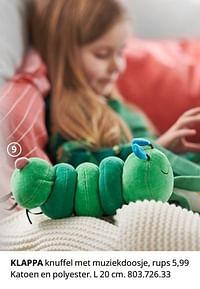 Klappa knuffel met muziekdoosje, rups-Huismerk - Ikea