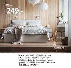 Malm bedframe, hoog met 4 bedlades