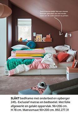 Släkt bedframe met onderbed en opberger