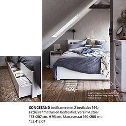 Songesand bedframe met 2 bedlades