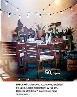 Äpplarö chaise avec accoudoirs, extérieur