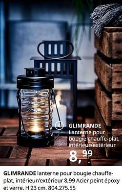 Glimrande lanterne pour bougie chauffeplat, intérieur-extérieur