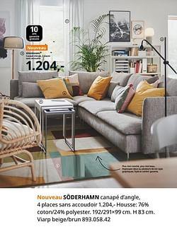 Söderhamn canapé d`angle 4 places sans accoudoir