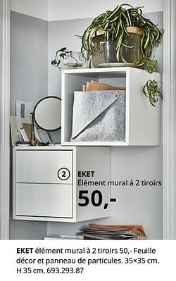 Eket élément mural à 2 tiroirs