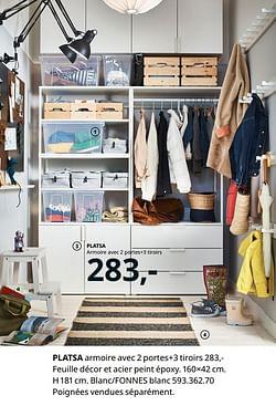 Platsa armoire avec 2 portes 3 tiroirs