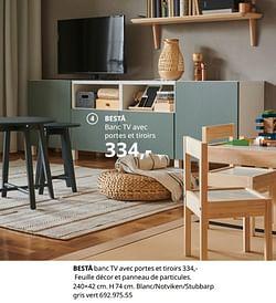 Bestå banc tv avec portes et tiroirs