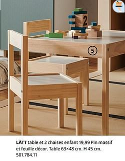 Lätt table et 2 chaises enfant