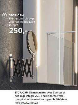 Storjorm élément miroir avec 2 portes et éclairage intégré