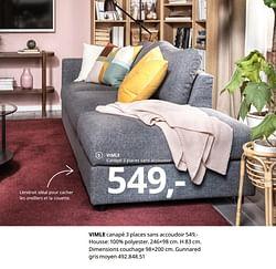 Vimle canapé 3 places sans accoudoir