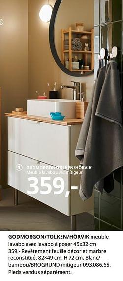 Godmorgon-tolken-hörvik meuble lavabo avec lavabo à poser
