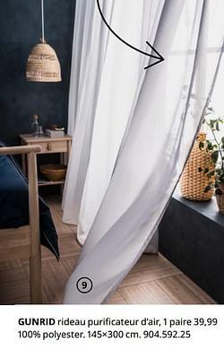 Gunrid rideau purificateur d`air, 1 paire