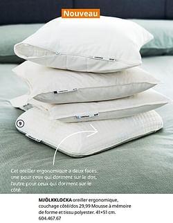 Mjölkklocka oreiller ergonomique, couchage côté-dos