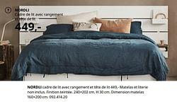 Nordli cadre de lit avec rangement et tête de lit