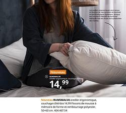 Rumsmalva oreiller ergonomique, couchage côté-dos