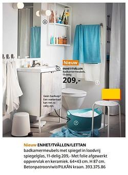 Enhet-tvällen-lettan badkamer meubels met spiegel in loodvrij spiegelglas, 11-delig