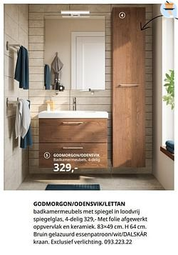 Godmorgon-odensvik-lettan badkamermeubels met spiegel in loodvrij spiegelglas, 4-delig