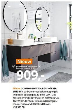 Godmorgon-tolken-hörvik- lindbyn badkamermeubels met spiegels in loodvrij spiegelglas, 10-delig