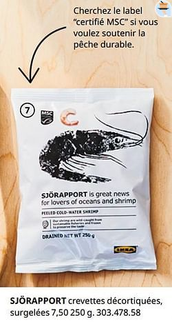 Sjörapport crevettes décortiquées, surgelées