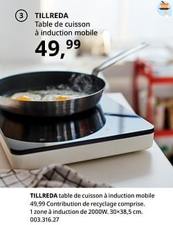 Tillreda table de cuisson à induction mobile