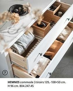 Hemnes commode 3 tiroirs