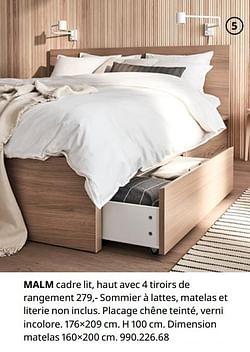 Malm cadre lit, haut avec 4 tiroirs de rangement