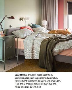 Slattum cadre de lit matelassé