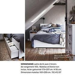 Songesand cadre de lit avec 2 tiroirs de rangement