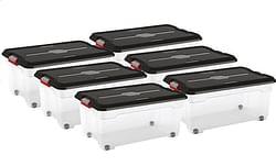 Keter Kis Opbergbox Moover Box transparant/black 60 l - 6 stuks
