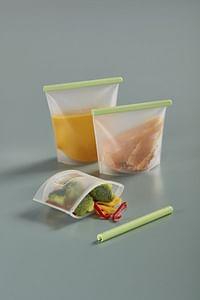 Lékué 3-delige set herbruikbare vershoudzakjes transparant/groen-Lékué