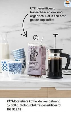 Påtår cafetière koffie, donker gebrand