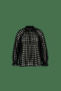 MS Mode Dames Transparante blouse met pied-de-poule print Zwart-Huismerk - MS Mode
