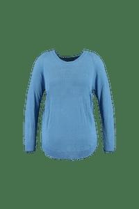 MS Mode Dames Trui met textuur Blauw-Huismerk - MS Mode