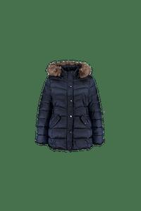 MS Mode Dames Gewatteerde jas met capuchon Blauw-Huismerk - MS Mode