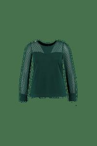 MS Mode Dames Top met transparante mouw Groen-Huismerk - MS Mode