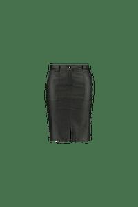 MS Mode Dames Coated rok met splitje Zwart-Huismerk - MS Mode